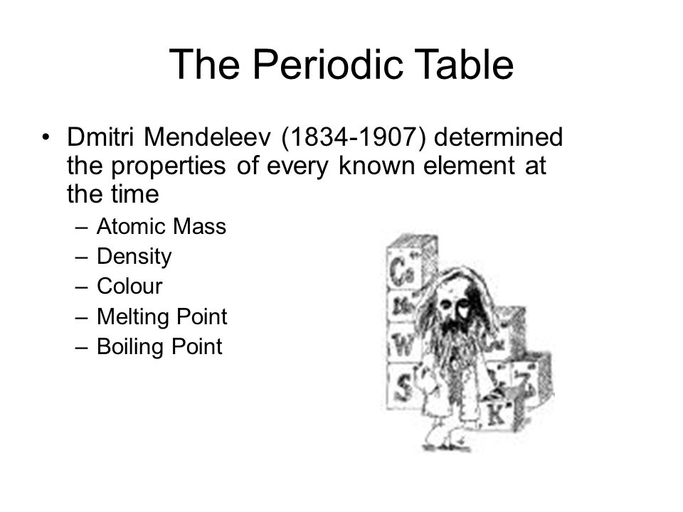 The Periodic Table Dmitri Mendeleev (1834-1907) determined the properties of every known element at the time –Atomic Mass –Density –Colour –Melting Point –Boiling Point