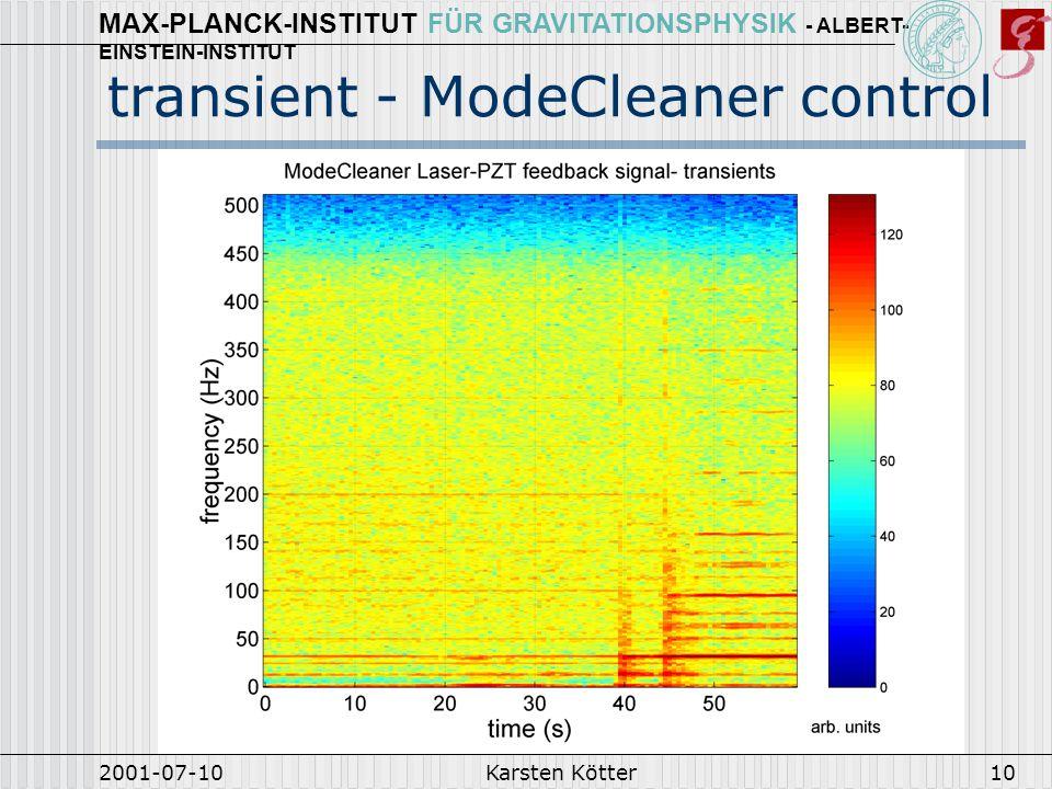 MAX-PLANCK-INSTITUT FÜR GRAVITATIONSPHYSIK - ALBERT- EINSTEIN-INSTITUT 2001-07-10Karsten Kötter11 coherence: seismic motion