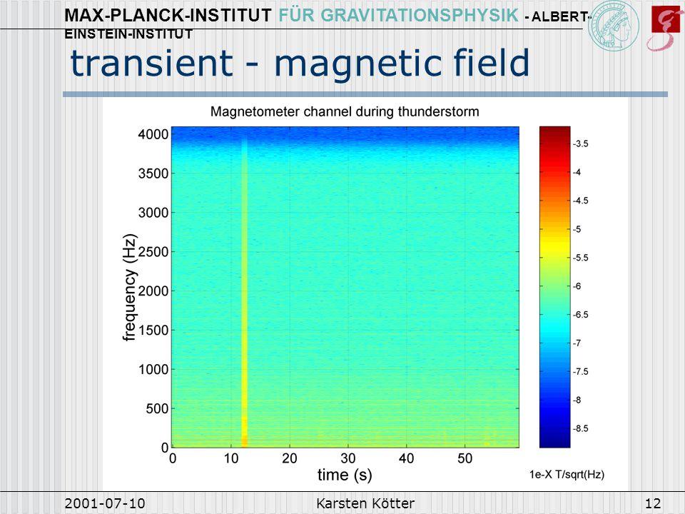 MAX-PLANCK-INSTITUT FÜR GRAVITATIONSPHYSIK - ALBERT- EINSTEIN-INSTITUT 2001-07-10Karsten Kötter13 Detector signals during lightning