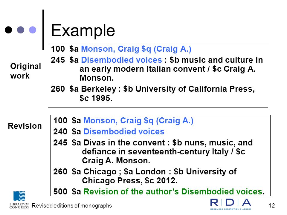 Revised editions of monographs12 Example 100 $a Monson, Craig $q (Craig A.) 245 $a Disembodied voices : $b music and culture in an early modern Italian convent / $c Craig A.