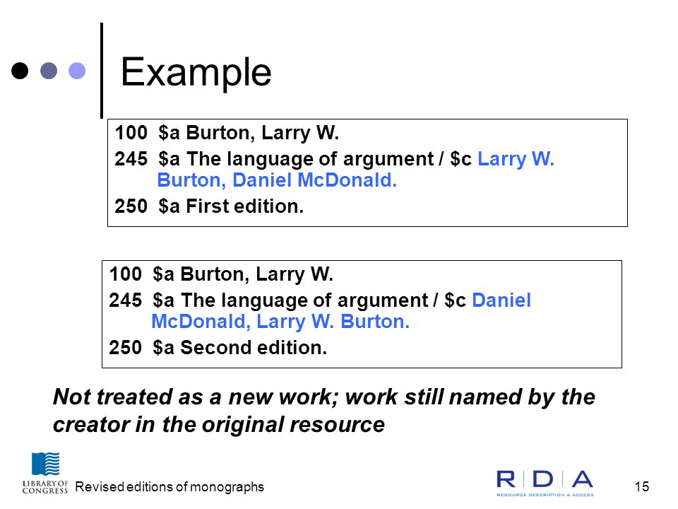Revised editions of monographs15 Example 100 $a Burton, Larry W.
