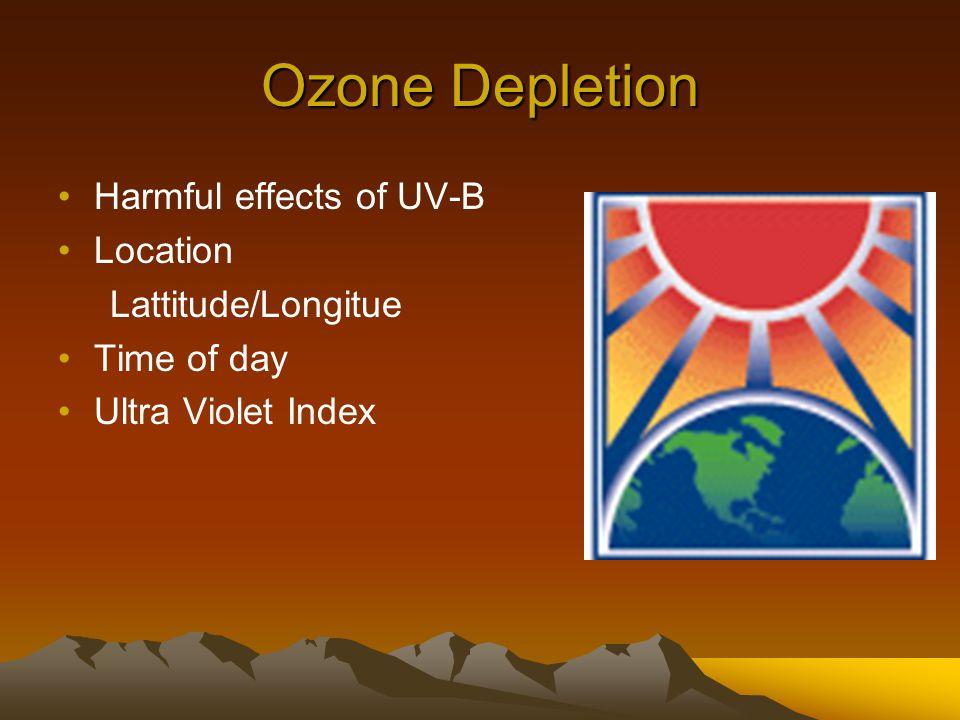 Ozone Depletion Harmful effects of UV-B Location Lattitude/Longitue Time of day Ultra Violet Index