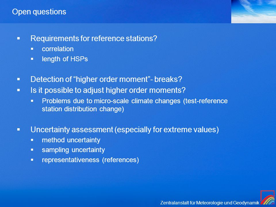 Zentralanstalt für Meteorologie und Geodynamik Open questions  Requirements for reference stations.