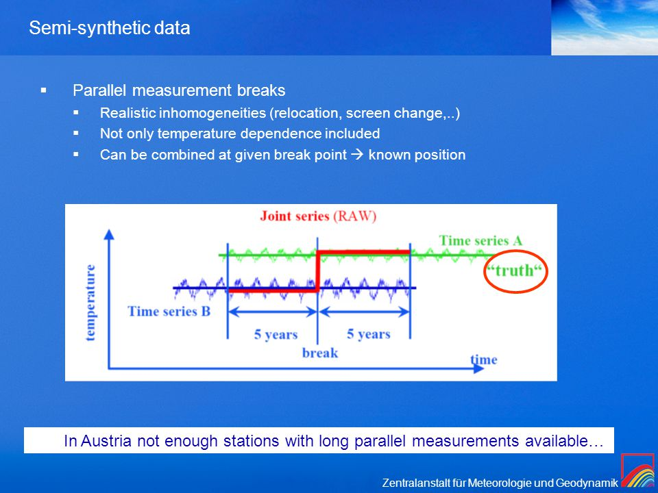 Zentralanstalt für Meteorologie und Geodynamik Semi-synthetic data  Parallel measurement breaks  Realistic inhomogeneities (relocation, screen change,..)  Not only temperature dependence included  Can be combined at given break point  known position In Austria not enough stations with long parallel measurements available…