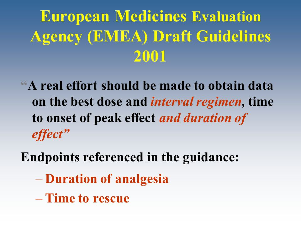 "European Medicines Evaluation Agency (EMEA) Draft Guidelines 2001 ""A real effort should be made to obtain data on the best dose and interval regimen,"