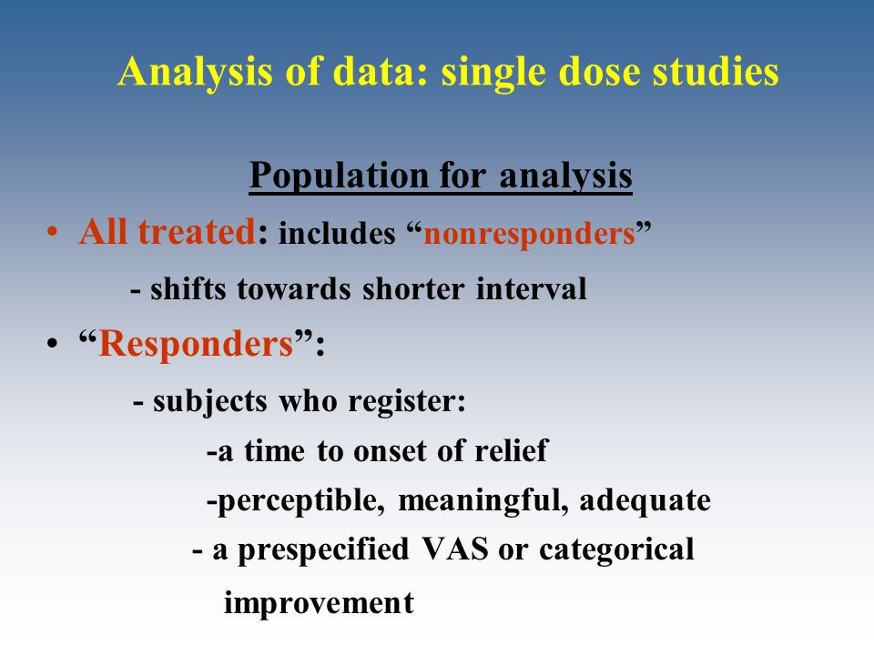 "Analysis of data: single dose studies Population for analysis All treated: includes ""nonresponders"" - shifts towards shorter interval ""Responders"": -"