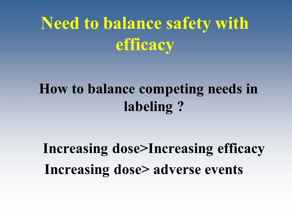 Need to balance safety with efficacy How to balance competing needs in labeling ? Increasing dose>Increasing efficacy Increasing dose> adverse events