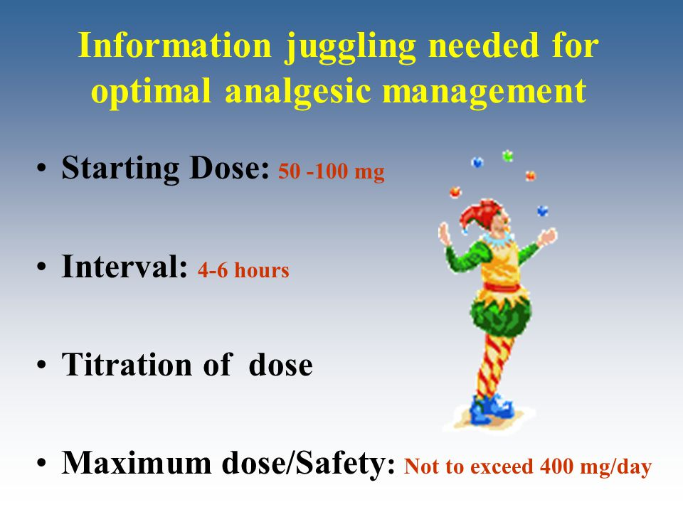 Information juggling needed for optimal analgesic management Starting Dose: 50 -100 mg Interval: 4-6 hours Titration of dose Maximum dose/Safety : Not