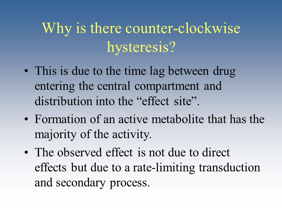 "Why is there counter-clockwise hysteresis? This is due to the time lag between drug entering the central compartment and distribution into the ""effect"