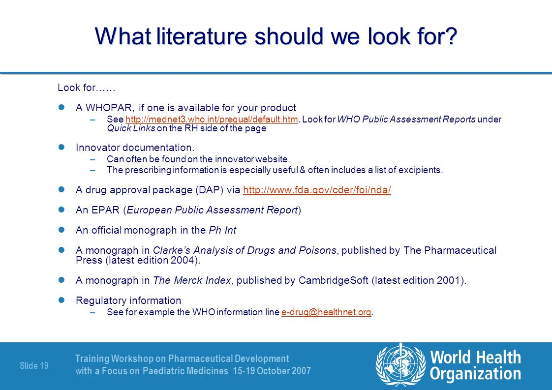Training Workshop on Pharmaceutical Development with a Focus on Paediatric Medicines 15-19 October 2007 Slide 20 Case study: A new brand of Nevirapine 50mg/5 ml oral suspension - 1 Why do we need to know the chemical structure.