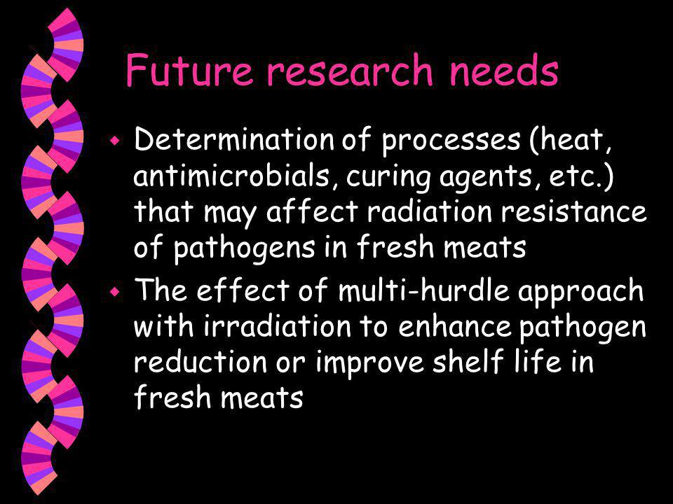 Overview w Effect of irradiation on pathogenic and spoilage microorganisms w Effect of irradiation on shelf life of fresh meats w Types of irradiated meat products w Future research needs