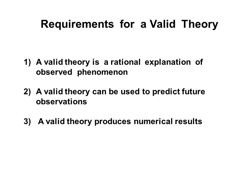 Requirements for a Valid Theory 1)A valid theory is a rational explanation of observed phenomenon 2)A valid theory can be used to predict future obser