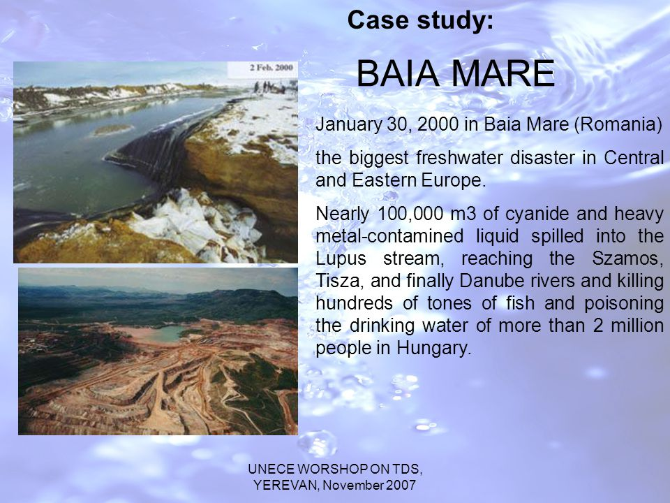 UNECE WORSHOP ON TDS, YEREVAN, November 2007 BAIA MARE January 30, 2000 in Baia Mare (Romania) the biggest freshwater disaster in Central and Eastern Europe.