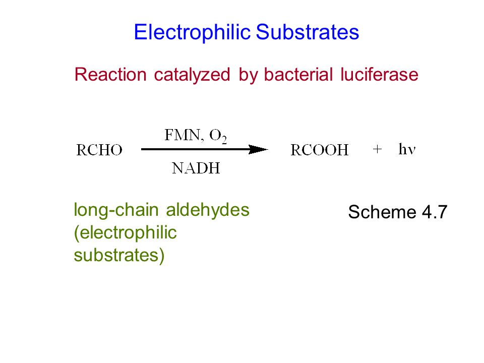 Electrophilic Substrates Scheme 4.7 long-chain aldehydes (electrophilic substrates) Reaction catalyzed by bacterial luciferase