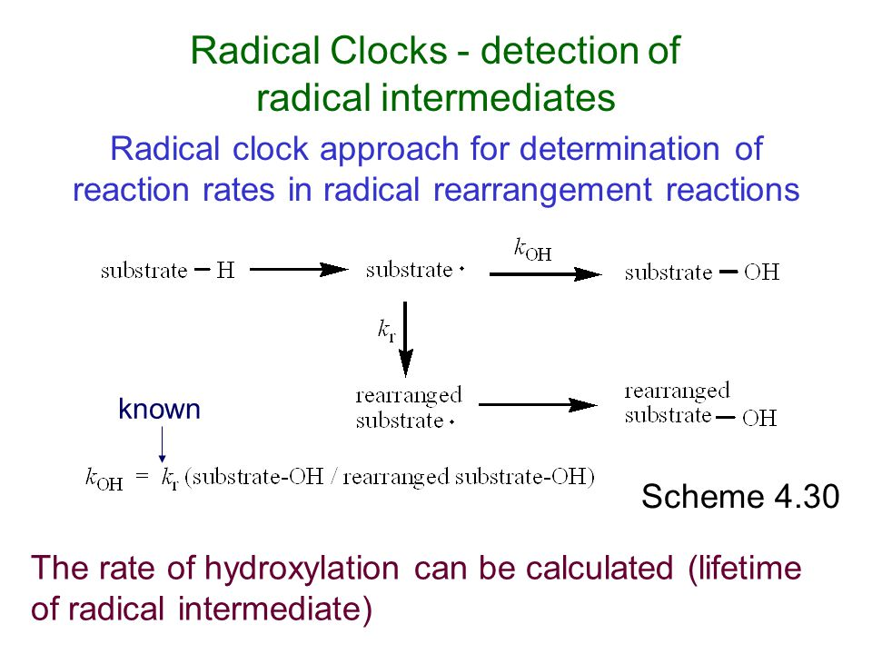 Scheme 4.30 Radical Clocks - detection of radical intermediates known The rate of hydroxylation can be calculated (lifetime of radical intermediate) R