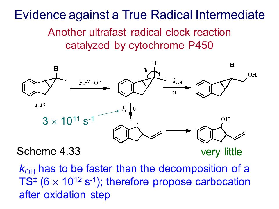 Scheme 4.33 Evidence against a True Radical Intermediate 3  10 11 s -1 very little k OH has to be faster than the decomposition of a TS ‡ (6  10 12