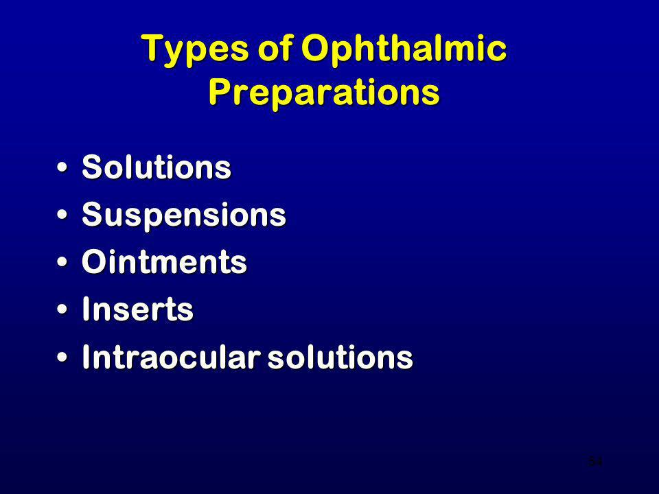 54 Types of Ophthalmic Preparations SolutionsSolutions SuspensionsSuspensions OintmentsOintments InsertsInserts Intraocular solutionsIntraocular solut