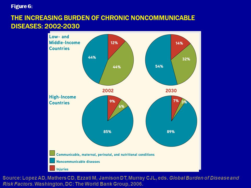 Figure 6: THE INCREASING BURDEN OF CHRONIC NONCOMMUNICABLE DISEASES: 2002-2030 Source: Lopez AD, Mathers CD, Ezzati M, Jamison DT, Murray CJL, eds. Gl