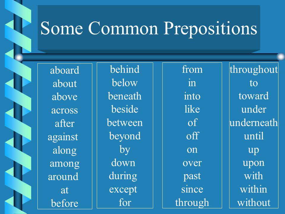 The preposition never stands alone ! preposition noun pronoun object of preposition object can have more than one object object can have modifiers You