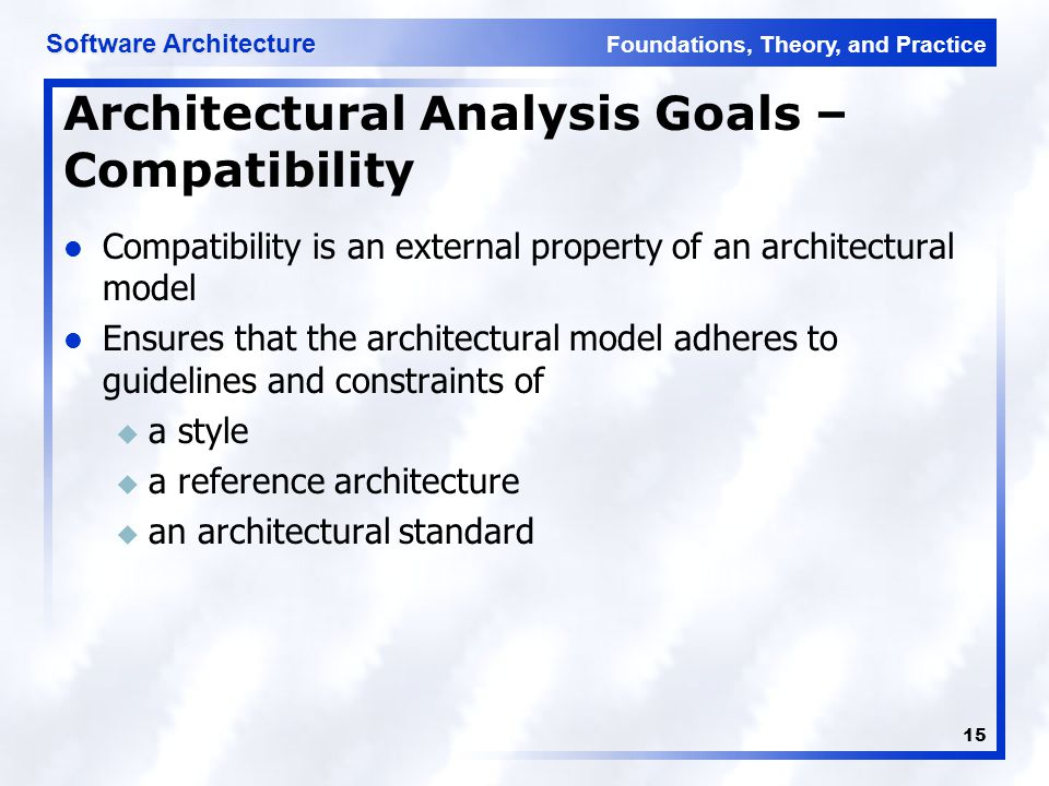 Foundations, Theory, and Practice Software Architecture 15 Architectural Analysis Goals – Compatibility Compatibility is an external property of an ar