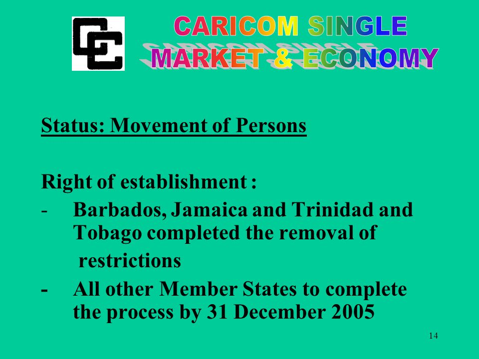 14 Status: Movement of Persons Right of establishment : -Barbados, Jamaica and Trinidad and Tobago completed the removal of restrictions - All other Member States to complete the process by 31 December 2005