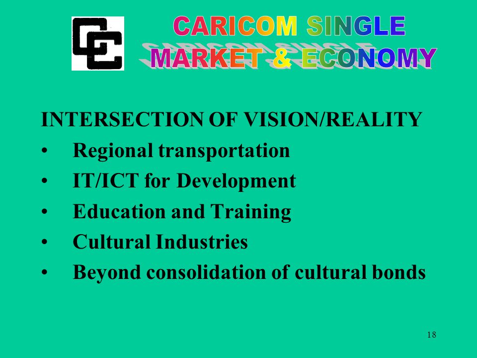 18 INTERSECTION OF VISION/REALITY Regional transportation IT/ICT for Development Education and Training Cultural Industries Beyond consolidation of cultural bonds