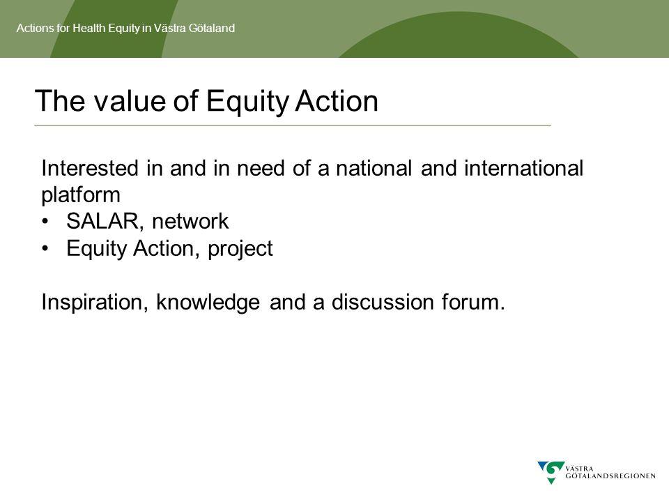 Actions for Health Equity in Västra Götaland Organization