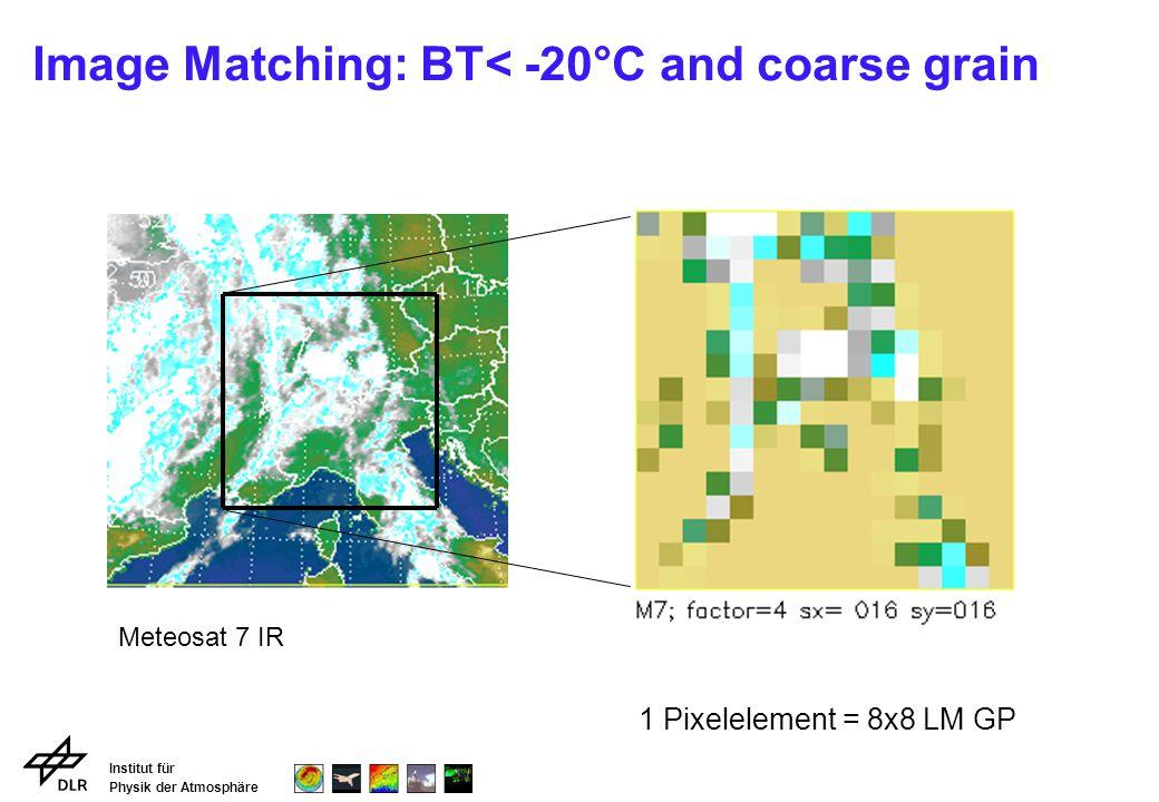 Institut für Physik der Atmosphäre Image Matching: BT< -20°C and coarse grain Meteosat 7 IR 1 Pixelelement = 8x8 LM GP