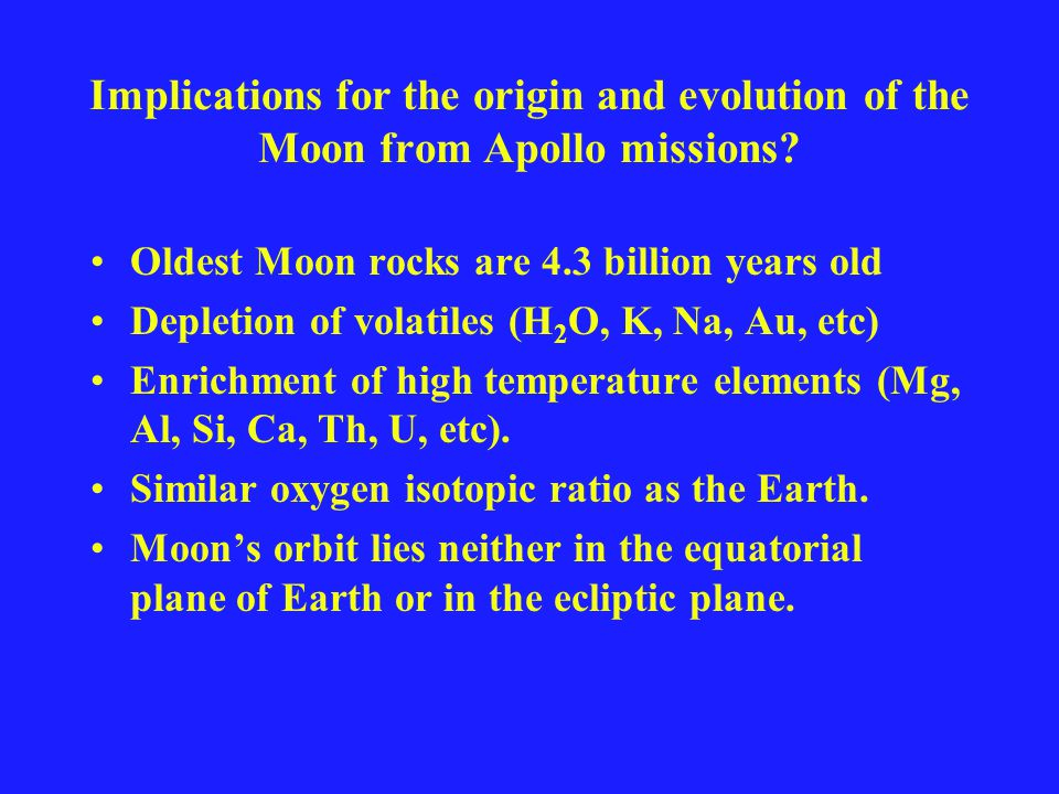 Implications for the origin and evolution of the Moon from Apollo missions.