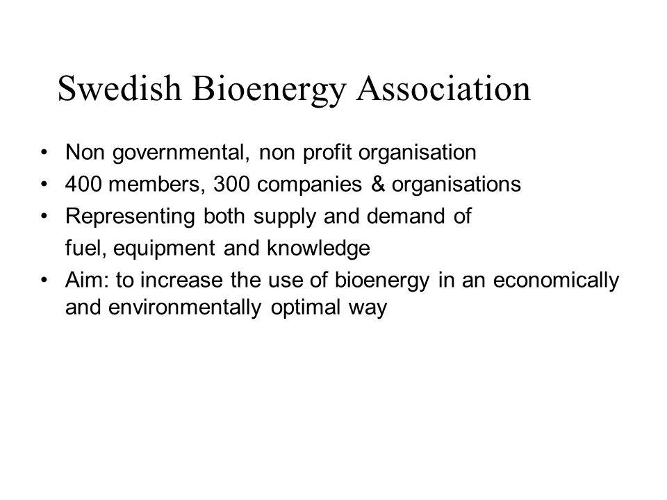 Swedish Bioenergy Association Non governmental, non profit organisation 400 members, 300 companies & organisations Representing both supply and demand