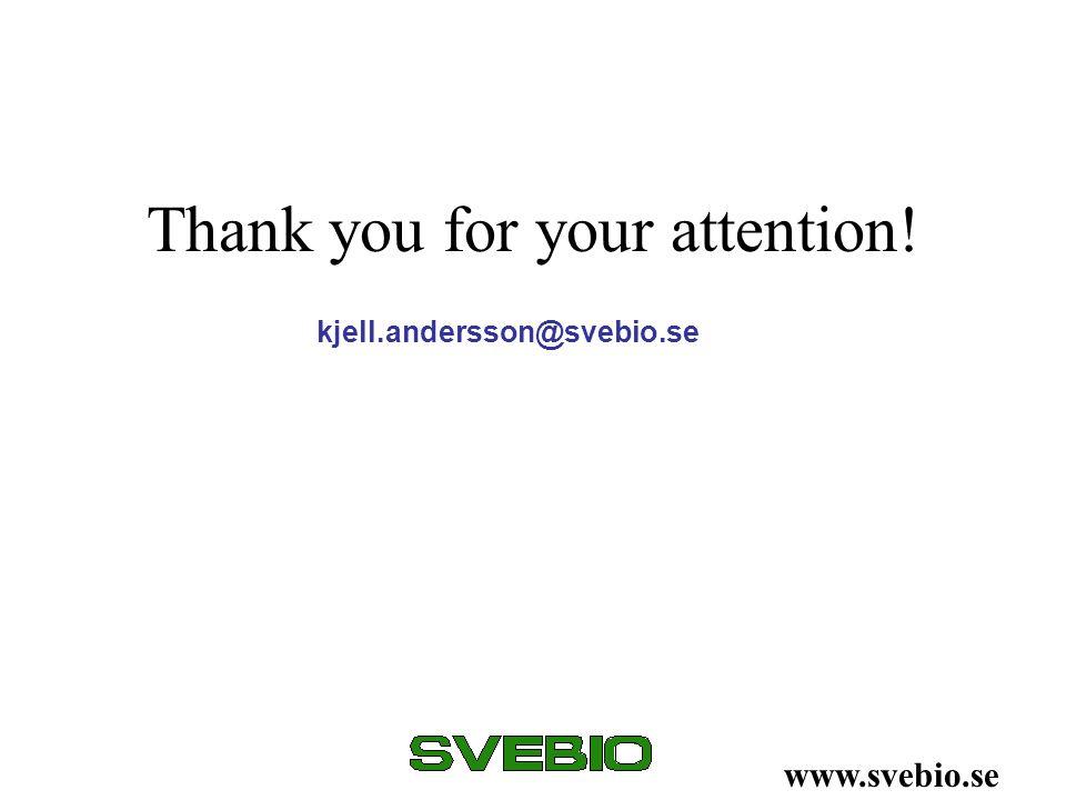 Thank you for your attention! www.svebio.se kjell.andersson@svebio.se
