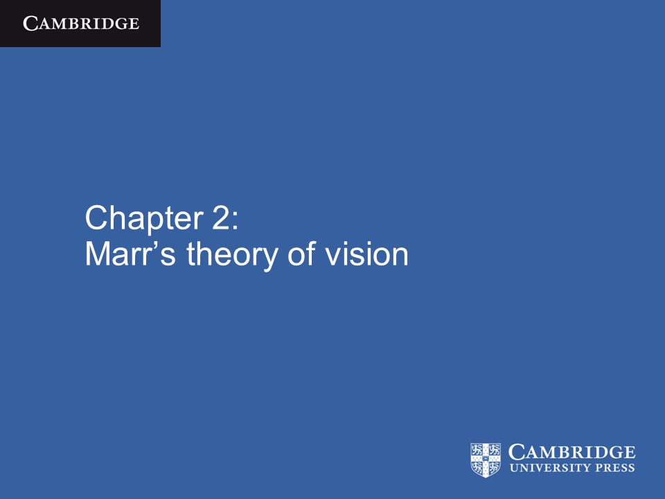 Chapter 2: Marr's theory of vision