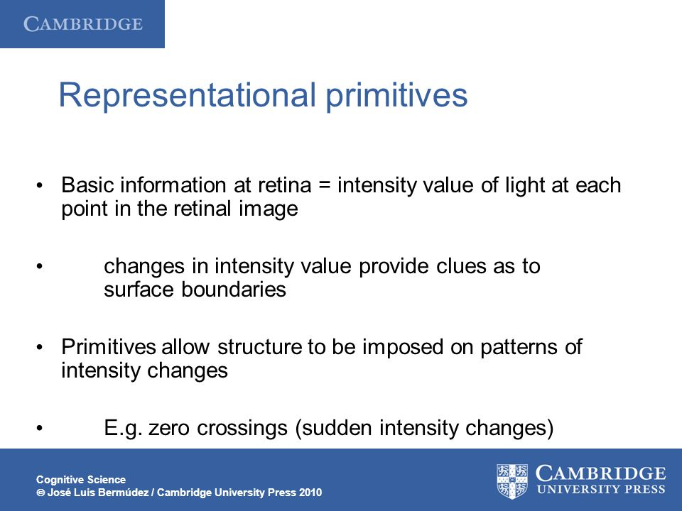 Cognitive Science  José Luis Bermúdez / Cambridge University Press 2010 Representational primitives Basic information at retina = intensity value of light at each point in the retinal image changes in intensity value provide clues as to surface boundaries Primitives allow structure to be imposed on patterns of intensity changes E.g.