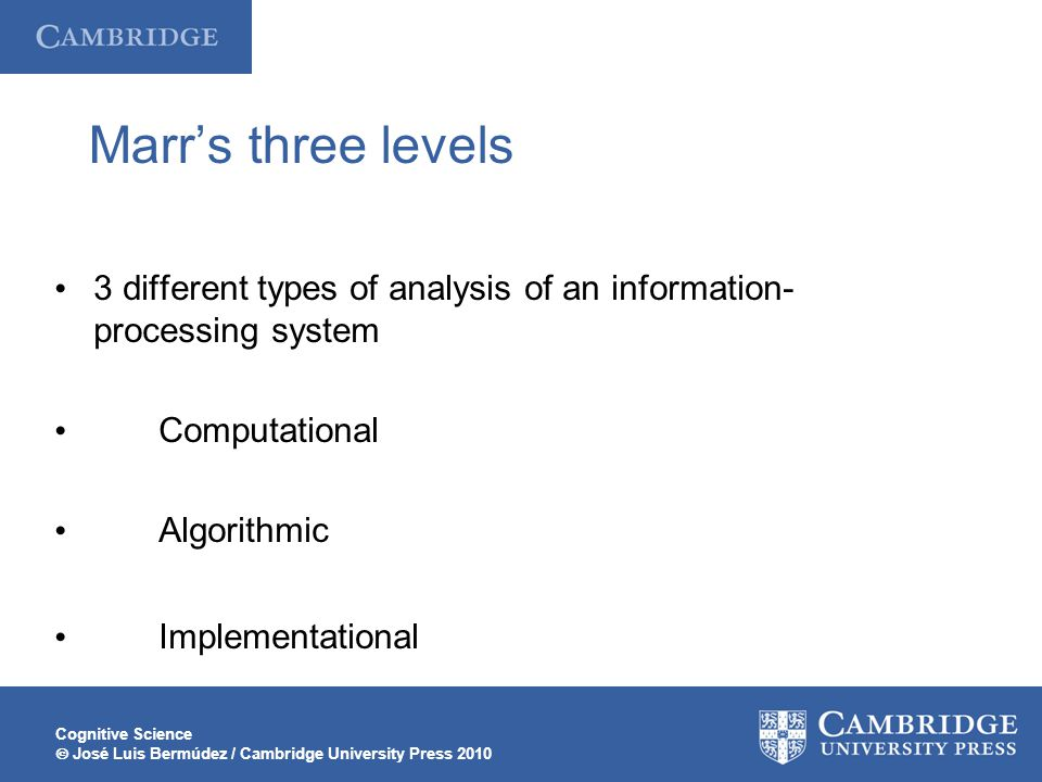 Cognitive Science  José Luis Bermúdez / Cambridge University Press 2010 Marr's three levels 3 different types of analysis of an information- processing system Computational Algorithmic Implementational