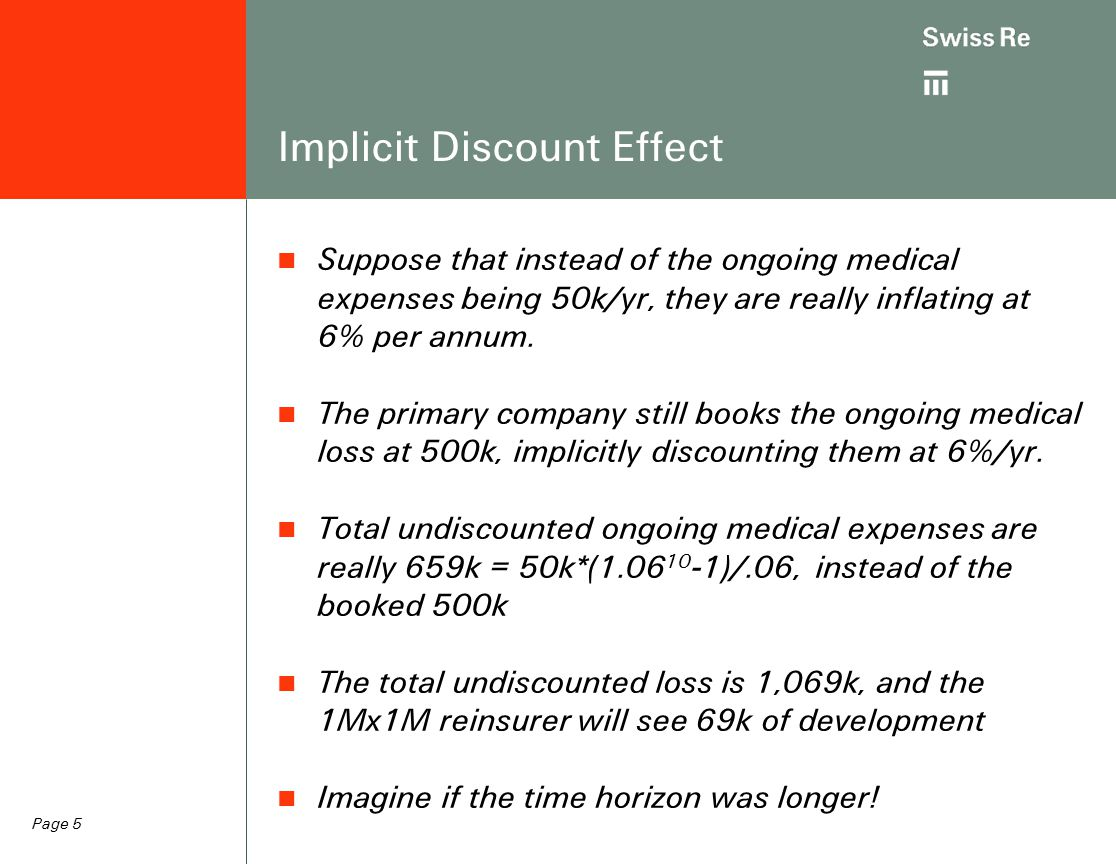 Page 5 Implicit Discount Effect Suppose that instead of the ongoing medical expenses being 50k/yr, they are really inflating at 6% per annum.