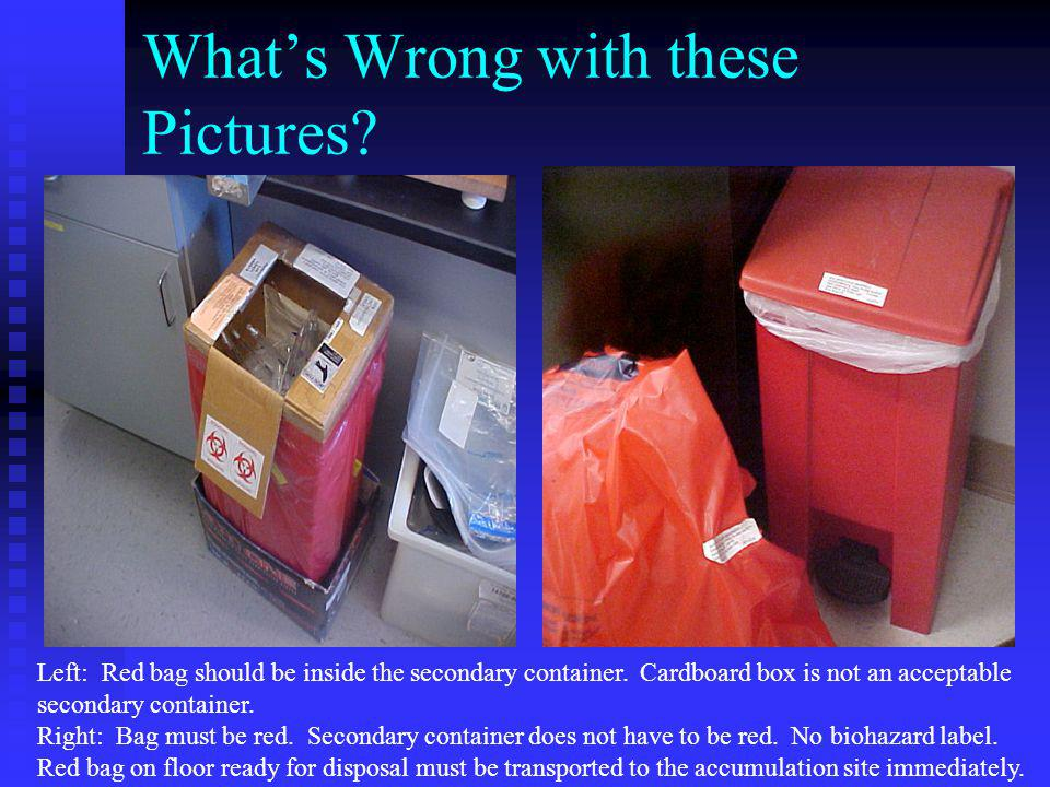 What's Wrong with these Pictures? Left: Red bag should be inside the secondary container. Cardboard box is not an acceptable secondary container. Righ