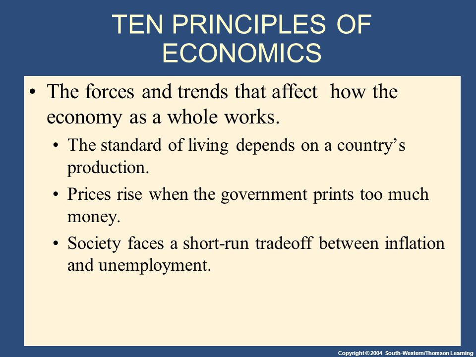 Copyright © 2004 South-Western/Thomson Learning TEN PRINCIPLES OF ECONOMICS The forces and trends that affect how the economy as a whole works. The st
