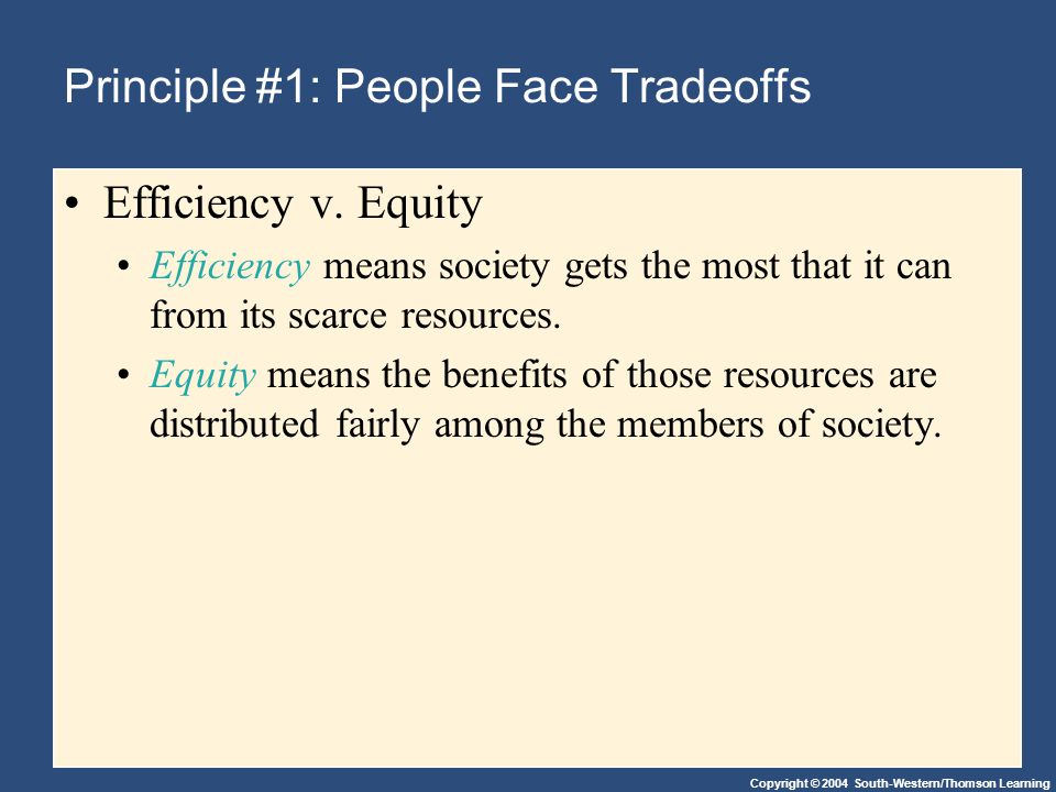 Copyright © 2004 South-Western/Thomson Learning Principle #1: People Face Tradeoffs Efficiency v. Equity Efficiency means society gets the most that i