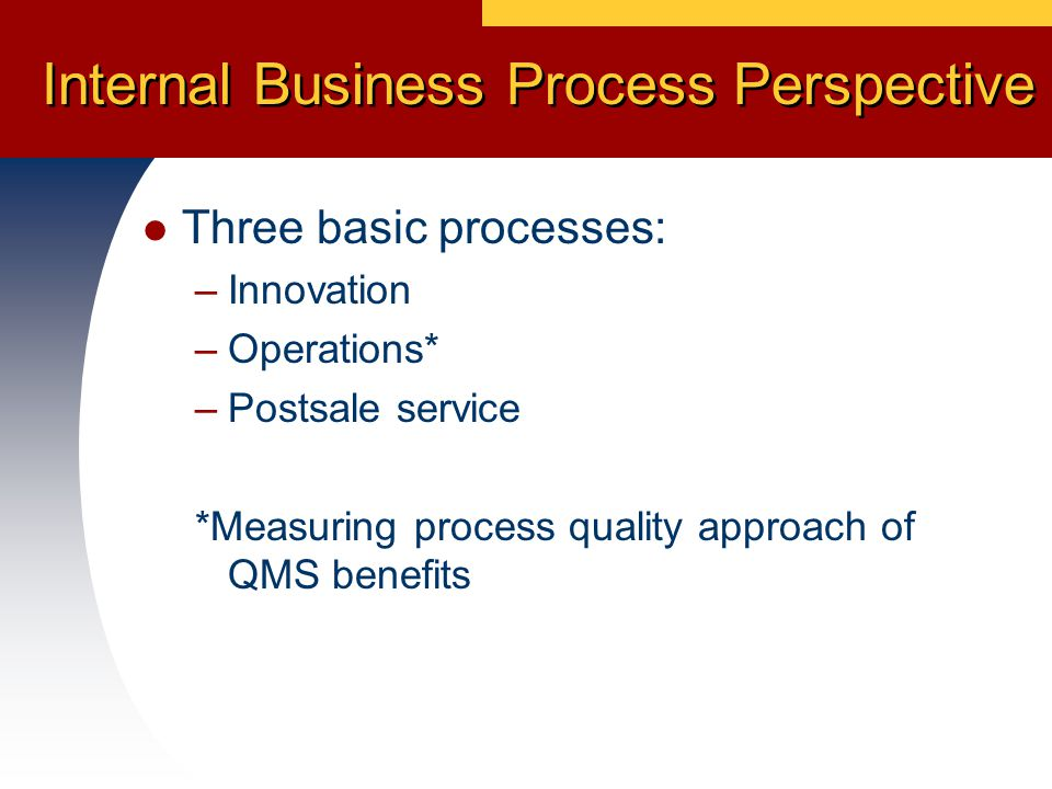 Internal Business Process Perspective Three basic processes: –Innovation –Operations* –Postsale service *Measuring process quality approach of QMS benefits