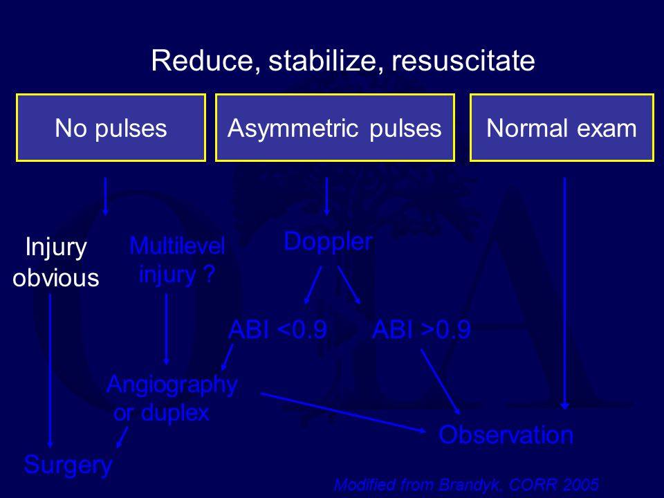 No pulsesAsymmetric pulsesNormal exam Reduce, stabilize, resuscitate Injury obvious Multilevel injury ? Doppler ABI >0.9ABI <0.9 Angiography or duplex