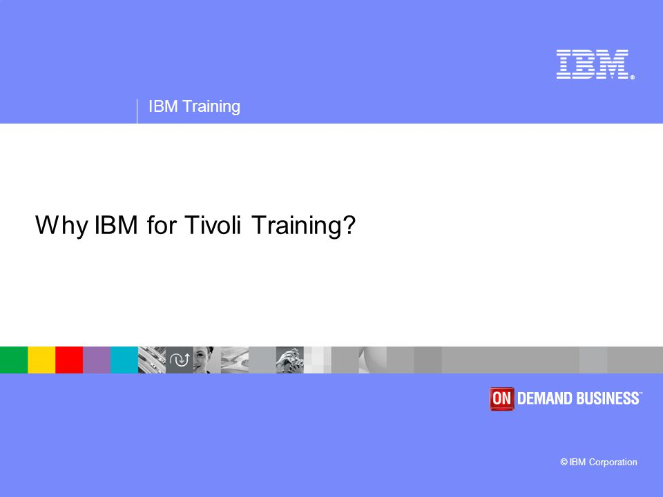 ® IBM Training © IBM Corporation January 2007 Why IBM for Tivoli Training.