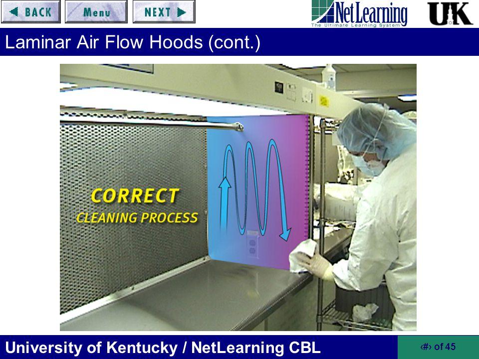 University of Kentucky / NetLearning CBL 18 of 45 Laminar Air Flow Hoods (cont.)