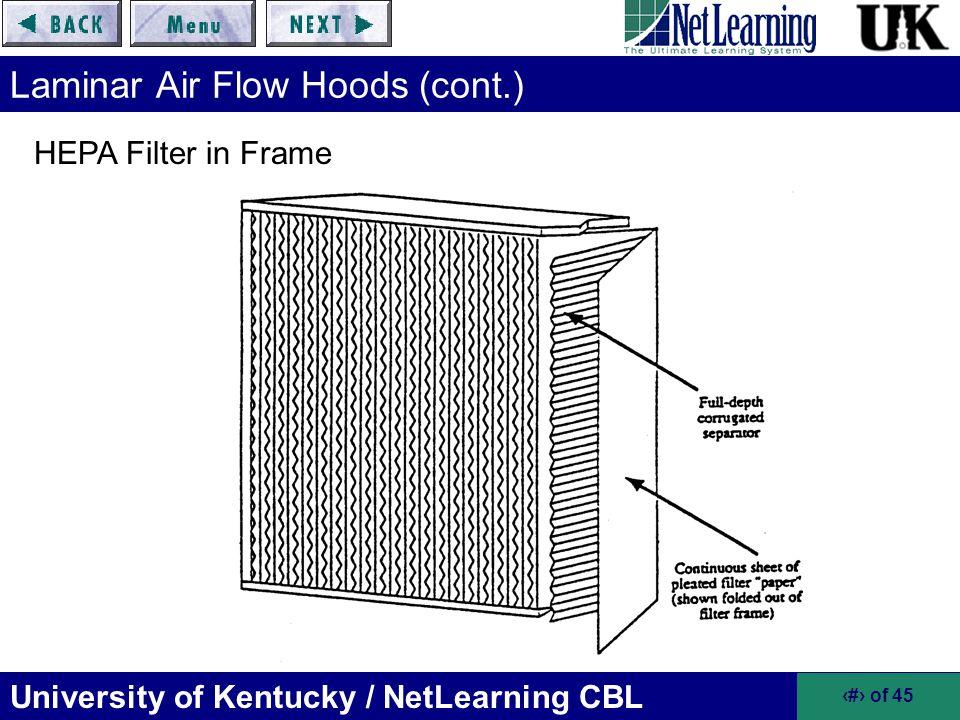 University of Kentucky / NetLearning CBL 9 of 45 Laminar Air Flow Hoods (cont.) HEPA Filter in Frame