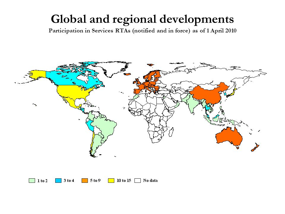 Global and regional developments Participation in Services RTAs (notified and in force) as of 1 April 2010