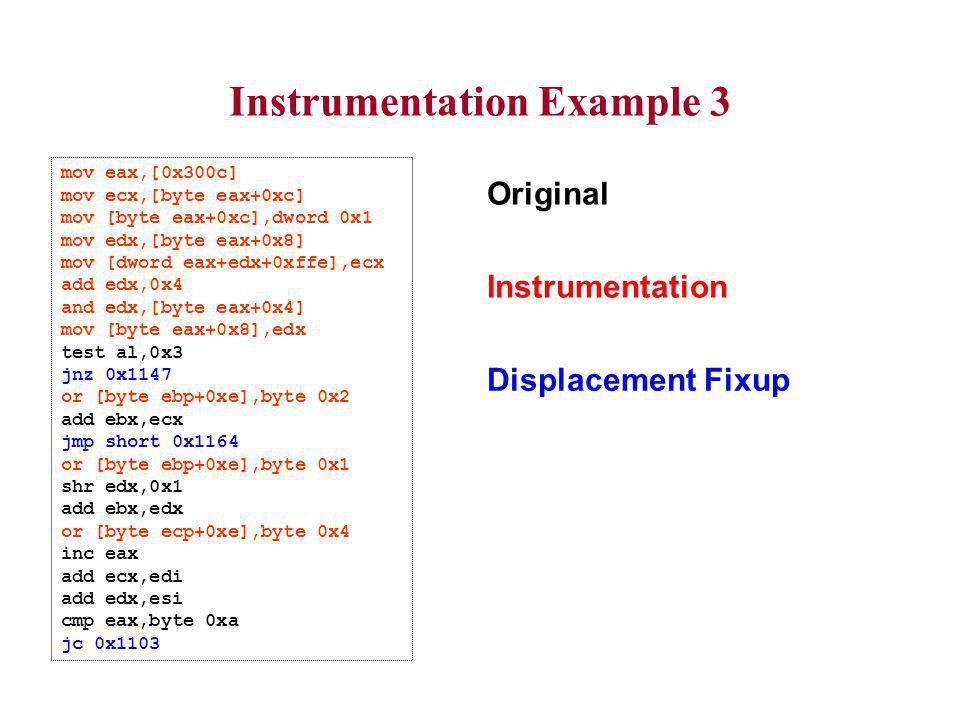 Instrumentation Example 3 mov eax,[0x300c] mov ecx,[byte eax+0xc] mov [byte eax+0xc],dword 0x1 mov edx,[byte eax+0x8] mov [dword eax+edx+0xffe],ecx add edx,0x4 and edx,[byte eax+0x4] mov [byte eax+0x8],edx test al,0x3 jnz 0x1147 or [byte ebp+0xe],byte 0x2 add ebx,ecx jmp short 0x1164 or [byte ebp+0xe],byte 0x1 shr edx,0x1 add ebx,edx or [byte ecp+0xe],byte 0x4 inc eax add ecx,edi add edx,esi cmp eax,byte 0xa jc 0x1103 Instrumentation Displacement Fixup Original