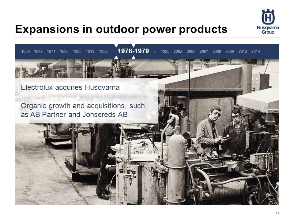 Expansions in outdoor power products 11 1689187218741896190319191959 Electrolux acquires Husqvarna Organic growth and acquisitions, such as AB Partner and Jonsereds AB 19701978-791980´s1995200220062007200820092014 2012 1978-1979 Pause 4 sekunder, ta inte bort denna