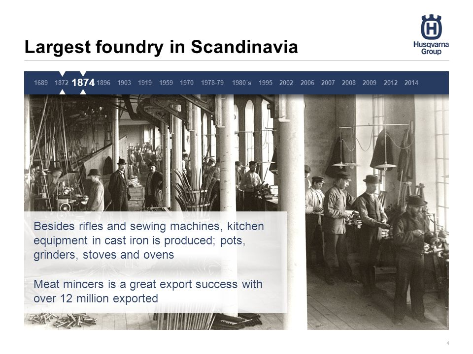 Largest foundry in Scandinavia 4 Besides rifles and sewing machines, kitchen equipment in cast iron is produced; pots, grinders, stoves and ovens Meat mincers is a great export success with over 12 million exported 1689187218741896190319191959 1874 19701978-791980´s1995200220062007200820092014 2012 Pause 3 sekunder, ta inte bort denna