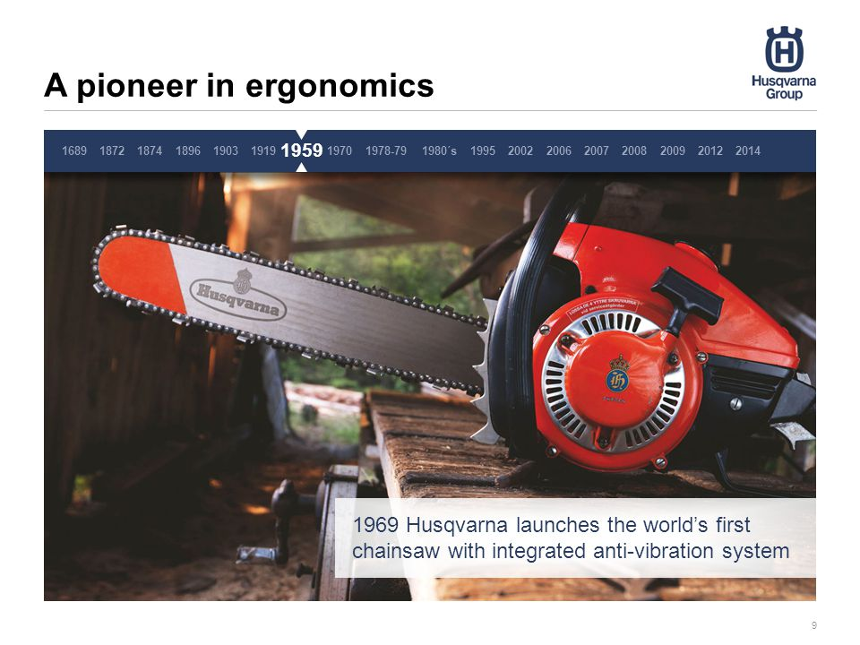 A pioneer in ergonomics 9 197016891872187418961903191919591978-791980´s1995200220062007200820092014 1969 Husqvarna launches the world's first chainsaw with integrated anti-vibration system 1959 2012 Pause 3 sekunder, ta inte bort denna