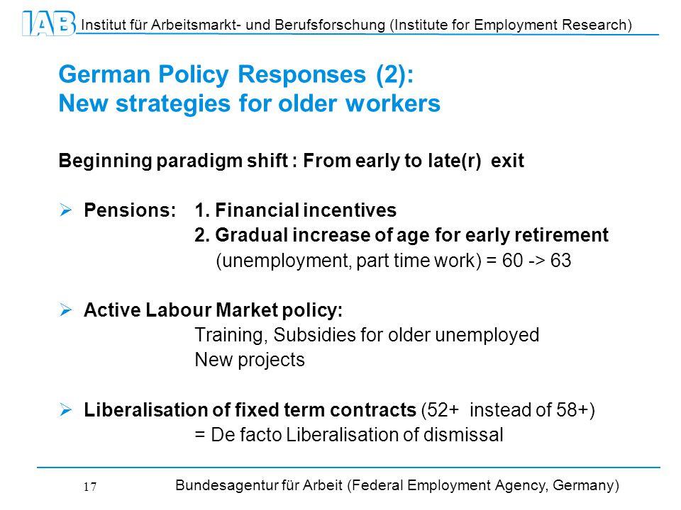 Institut für Arbeitsmarkt- und Berufsforschung (Institute for Employment Research) Bundesagentur für Arbeit (Federal Employment Agency, Germany) 17 German Policy Responses (2): New strategies for older workers Beginning paradigm shift : From early to late(r) exit  Pensions: 1.