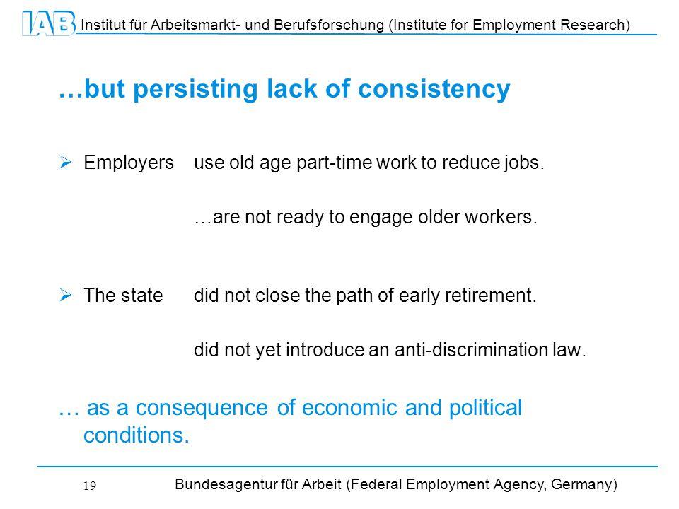 Institut für Arbeitsmarkt- und Berufsforschung (Institute for Employment Research) Bundesagentur für Arbeit (Federal Employment Agency, Germany) 19 …but persisting lack of consistency  Employers use old age part-time work to reduce jobs.